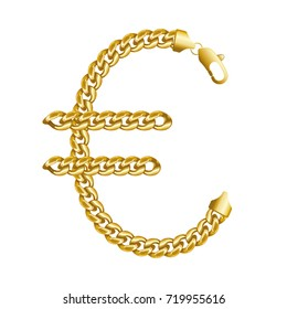 Gold euro money sign made of shiny thick golden chains with a lobster claw clasp lock. Realistic vector detailed illustration isolated on a white background.