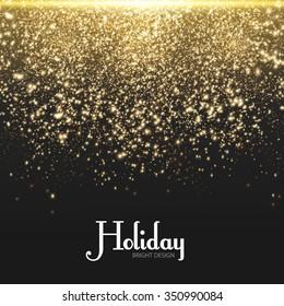 Gold Explosion on Black Background. Shining Motion & Luxury Design. Holiday, Nightclub  & Party Card. Vector illustration