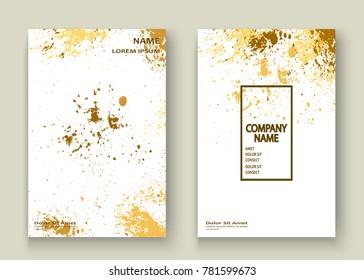 Gold explosion paint splatter artistic cover frame design. Decorative xmas splash spray texture white golden background. Trendy template vector Cover Report Catalog Brochure Flyer Poster Banner