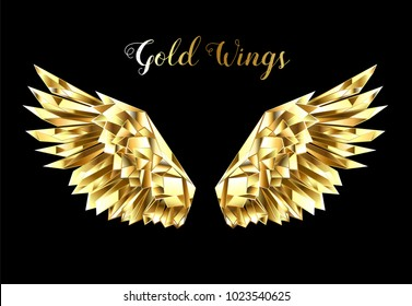 Gold, faceted, polygonal wings on black background.