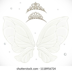 Gold fairy wings with tiaras bundled isolated on a white background