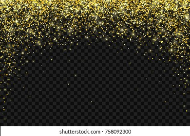 Gold falling particles on black background. Vector illustration