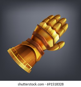 Gold fantasy armor hand glove for game or cards. Vector illustration.