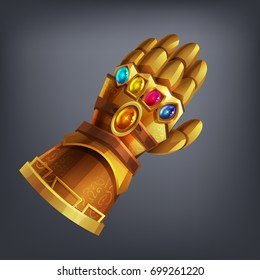 Gold fantasy armor hand glove with cosmic gems for game or cards. Vector illustration.