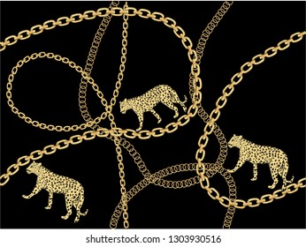 gold fashion chain print fashion chain and  gold seamless fashion gold chain design Baroque print with chains, keys. Seamless vector pattern with trendy accessories. Women's fashion collection.