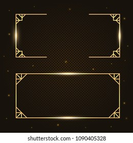 Gold fashion light sparkling  border, frame, banner set with golden bokeh isolated on dark background. Vector banner for information, text. Glowing neon fire wave. Glitter sparkle effect.