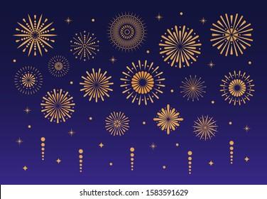 Gold festive firework illustration. Vector anniversary Christmas firecracker party celebrate sparkle, celebration golden glitter explosion fireworks