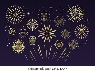 Gold festive fireworks. Christmas pyrotechnics firecracker party, independence anniversary festival firework celebration glitter golden explosion vector illustration background