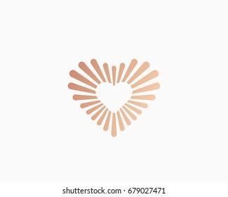 Gold fiber heart icon logo. Love vector symbol logotype.