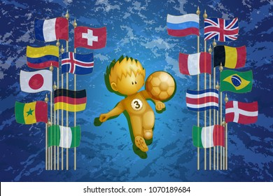 Gold figure football player with a ball, on each side flagpoles with flags of different countries. Rectangular horizontal illustration. Blue background.