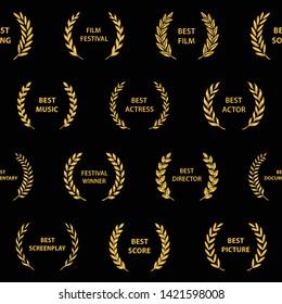 Gold film award wreaths. Seamless pattern. Vector illustration.