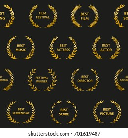 Gold film award wreaths. Seamless pattern. Vector illustration.