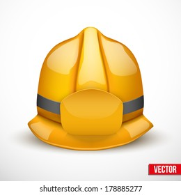 Gold firefighter helmet vector illustration. Space for badge or  emblem. Isolated and editable.
