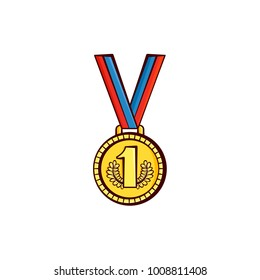 Gold first place medal, award hanging on ribbon, symbol of championship, success, achievement, sketch style vector illustration isolated on white background. Hand-drawn gold, first place medal, award