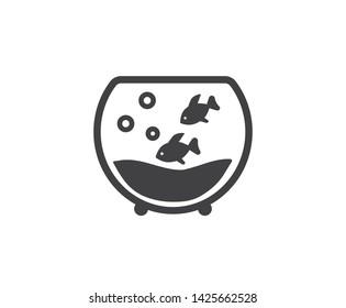 Gold Fish aquarium circle background icon, isolated on white background - fish, aquarium icon