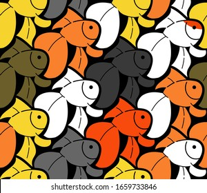 Gold fish, background in Escher style, seamless pattern vector illustration