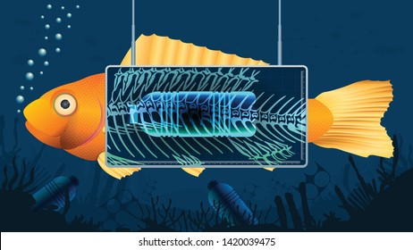 Gold fish behind an X-ray screen showing a plastic bottle inside the fish's stomach in a blue underwater background contaminated with bottles and pieces of plastic. Vector image