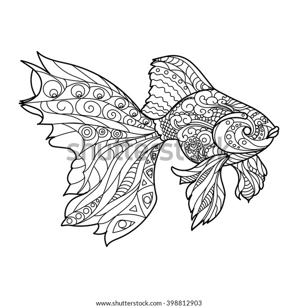 Gold Fish Coloring Book Adults Vector Stock Vector (Royalty Free ...