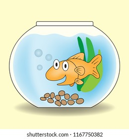Gold fish in the fishbowl. ( vector )