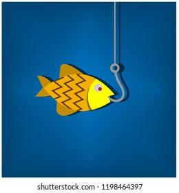 Gold fish and fishhook. Vector illustration design.