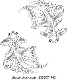 Gold fish illustration black and white