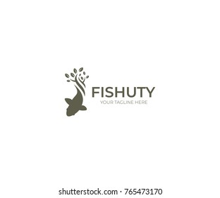 Gold Fish Logo Template. Sealife Vector Design. Fishing Illustration