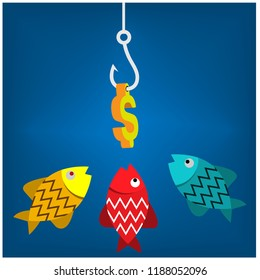 Gold fish, money and fishhook. Vector illustration design.