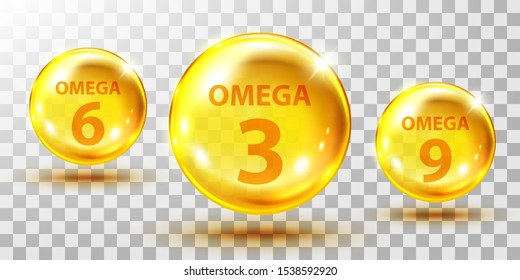 Gold, fish oil pills isolated on transparent. Omega 3, 6 and 9 gel capsule. Jelly fish oil tablet.
