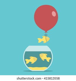 Gold fish and red balloon flying away from fishbowl on turquoise blue background. Round aquarium. Courage, creativity, success and risk concept. EPS 8 vector illustration, no transparency