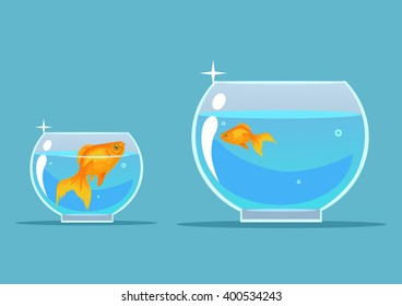Gold fish. Vector flat cartoon illustration