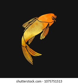 Gold Fish vector illustration on black background.