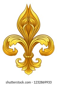 A gold Fleur De Lis heraldic coat of arms graphic design element
