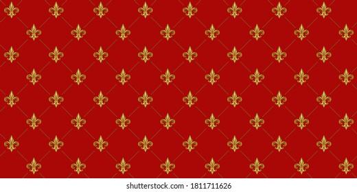 Gold Fleur De Lis luxury pattern. Royal ornamental red background.