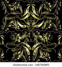 Gold floral 3d seamless pattern on black background
