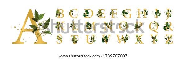Gold floral alphabet font uppercase letters with flowers leaves and gold splatters for wedding invite card and logo. Vector illustration for greeting card template design