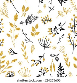 Gold floral background. Vector glitter textured seamless pattern with branches leaf berries. Perfect for holidays
