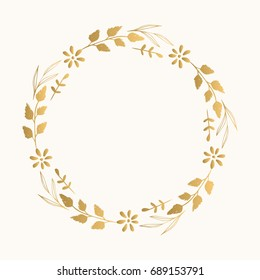 Gold floral fancy frame. Vector. Isolated.