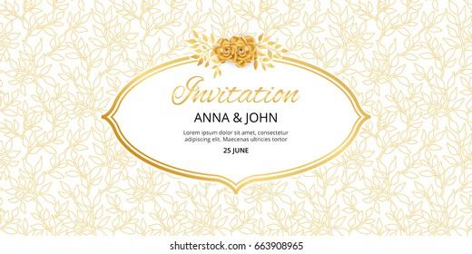 Gold Floral invitation. Golden flowers frame for wedding invitation, greeting cards, happy birthday, thank you, menu. Marriage engagement, gold background. Summer Vintage magnolia, decor Illustration