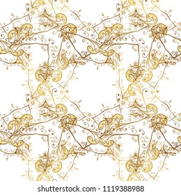 Gold floral ornament in baroque style. Damask ornamental repeating pattern. Golden element on white, beige and brown colors. Antique golden repeatable wallpaper.