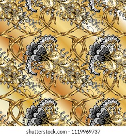 Gold floral ornament in baroque style. Golden element on beige, yellow and black colors. Gold Wallpaper on texture background. Damask ornamental repeating background.