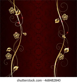 Gold floral pattern on dark red background with pattern. Vector illustration.
