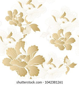 Gold floral seamless pattern vector. Chinese flower background in oriental style.