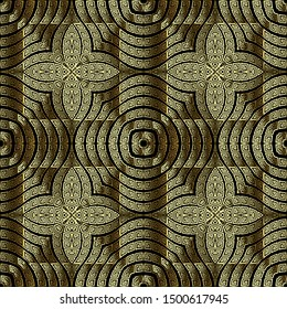 Gold floral textured 3d vector seamless pattern. Greek ornamental abstract background. Intricate flourish greek key meanders ornament. Surface endless texture. Geometric ornate decorative design.