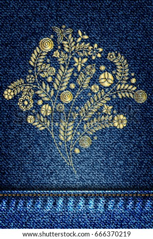 Cloth Embroidery Designs   Gold Flower Embroidery Design Embroidery Ethnic Stock Vektorgrafik