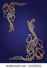 Gold flower garland frame