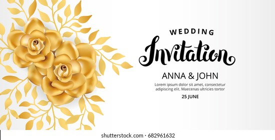 Gold Flower wedding invitation