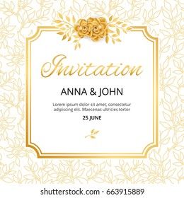 Gold Flower wedding paper invitation for weddings, background, anniversary marriage, engagement, birthday, Baby shower. Save the date. For flyer, invite, greeting card, greetings card congratulation