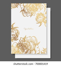 Gold flowers and leaves of peonies. Vector elements for design template. Vintage peonies for cards, wedding invitation, posters, save the date or greeting design, quotes, brochures, banners.
