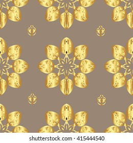 Gold flowers on a grey background. Pattern for wallpaper and textile. Seamless pattern.