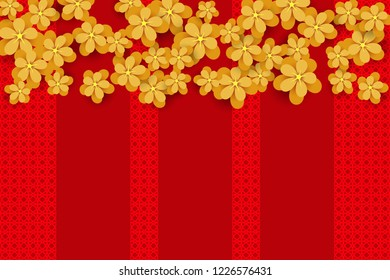 Gold Flowers on the red background. Design for Chinese New Year. Vector illustration EPS10